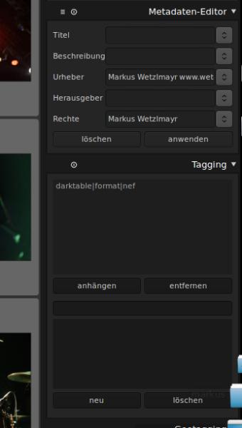 Darktable Metadaten