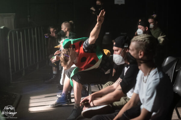 Audience dabbing at SQUIRRELS WITH LIGHTSABERS concert